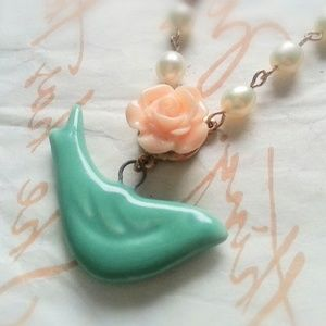 Turquoise Porcelain Sparrow Pearl Necklace